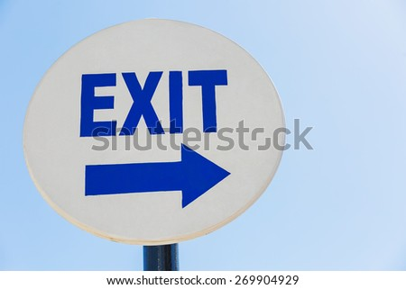 Sign Exit sign against the sky - stock photo