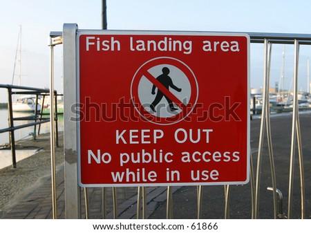 Sign, Fish Landing Area - stock photo