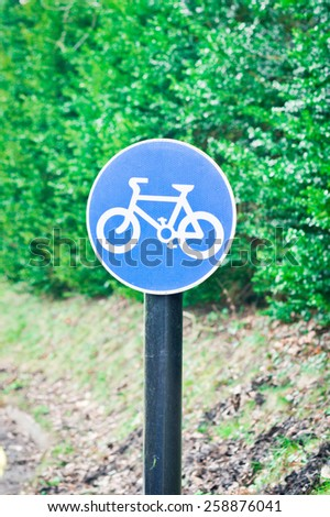 Sign for a cycle route on a rural road - stock photo