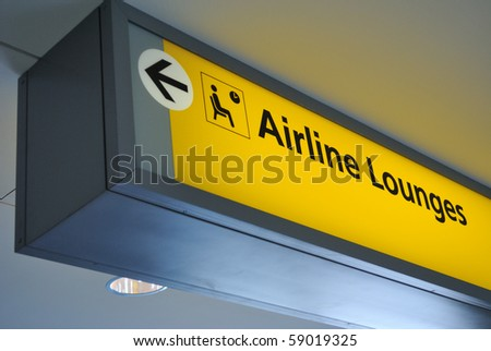 Sign for airline lounge - stock photo