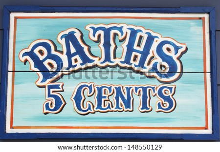 Sign for Baths 5 cents - stock photo