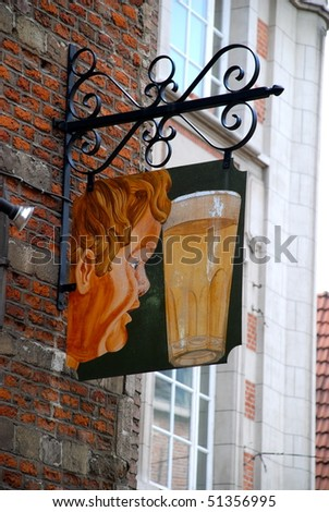 Sign for beer in the city of Brussels - stock photo