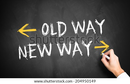 sign for showing the new way - stock photo