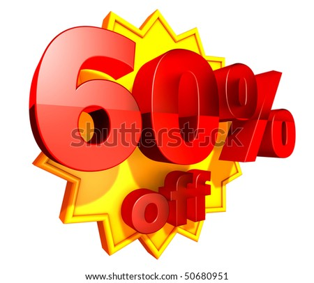 Sign for sixty per cent off in red ciphers at a yellow star on a white background