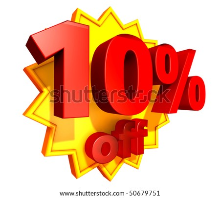 Sign for ten per cent off in red ciphers at a yellow star on a white background - stock photo