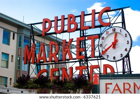 Sign for the famous Pike Place Market in Seattle, Washington. - stock photo