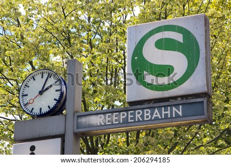 Sign for the Reeperbahn station in the middle of the infamous red light district in Hamburg, Germany. - stock photo