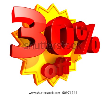 Sign for thirty per cent off in red ciphers at a yellow star on a white background
