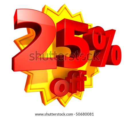 Sign for twenty-five per cent off in red ciphers at a yellow star on a white background - stock photo