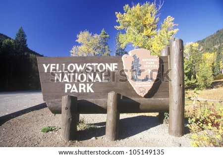 Sign for Yellowstone National Park, Wyoming - stock photo