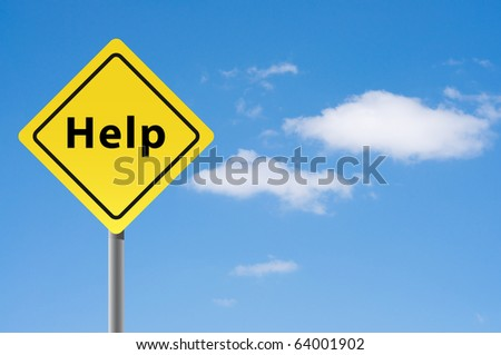 Sign help sky background. - stock photo
