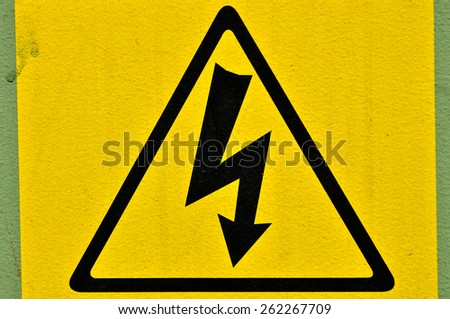 Sign 'High voltage' on the transformer - stock photo