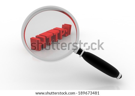 sign http:// through magnifying glasses - stock photo