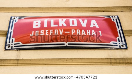 sign in a street in Prague, Czech Republic