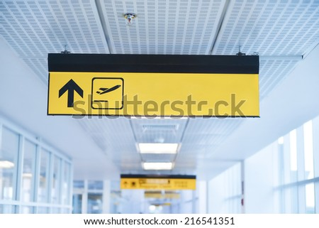 Sign in airport - stock photo