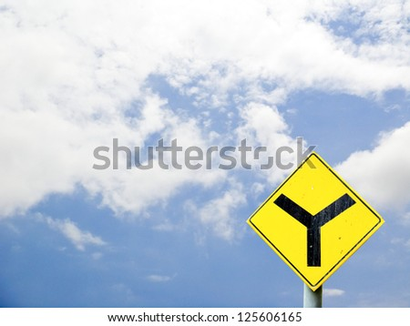 Sign in separate background is the sky - stock photo