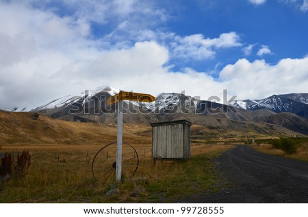 sign in the New Zealand mountain - stock photo