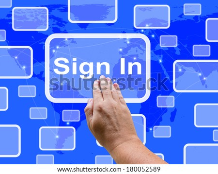 Sign In Touch Screen Showing Website Logins And Sign in