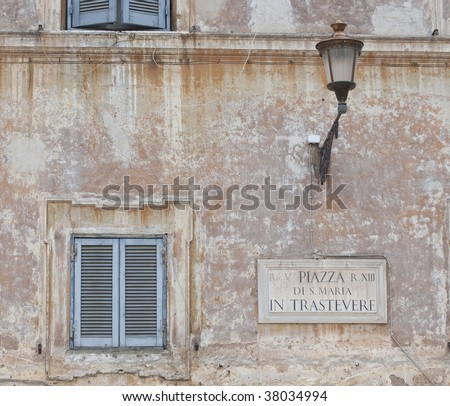 Sign in Trastevere, Rome, Italy - stock photo