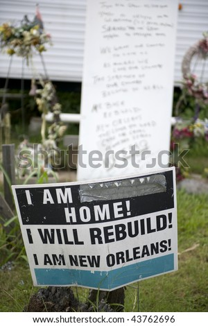 Sign in yard after Hurricane Katrina, New Orleans, Louisiana - stock photo