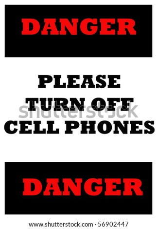 sign indicating cell phones must be turned off with clipping path at this size