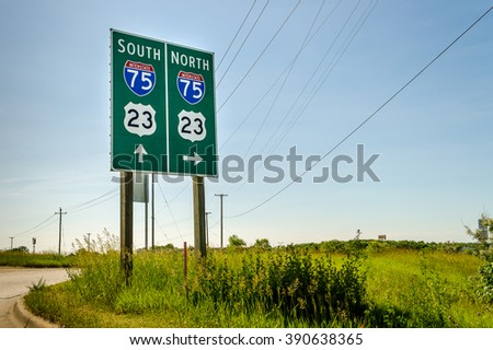 Sign, Interstate 75, Michigan - stock photo