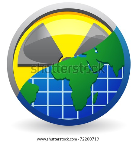 sign is a radiation and map of planet illustration isolated on white background
