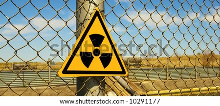 Sign is prevented about the radiation - stock photo