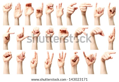 Sign language - a collage of the American sign language alphabet presented by a Caucasian young female hand. - stock photo