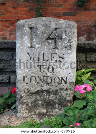 Sign:  14 miles to London - stock photo