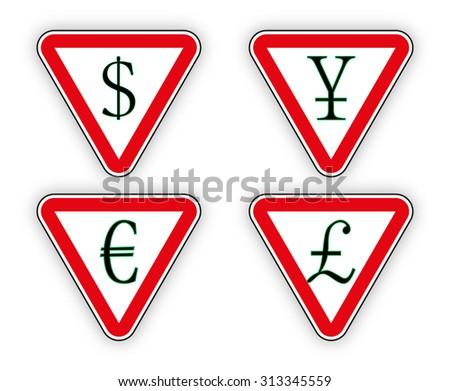 Sign money  pound and euro, dollar and yen illustration - stock photo