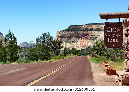 Sign near the East Entrance on Zion-Mount Carmel Highway into Zion National Park, Utah.  - stock photo
