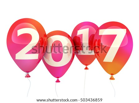 Sign new year 2017 on balloon (done in 3d rendering, white background)