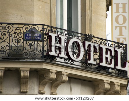 Sign of a Hotel in Paris