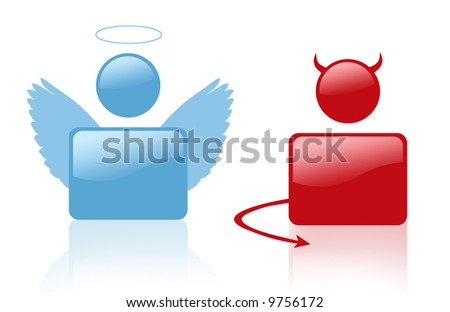 Sign of devil and angel - stock photo