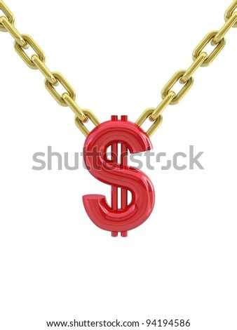 Sign of dollar and chain - stock photo