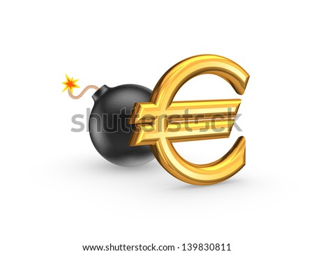Sign of euro and black bomb.Isolated on white.3d rendered. - stock photo