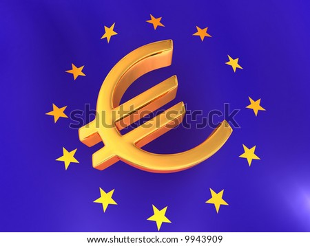 Sign of Euro on European flag. 3d