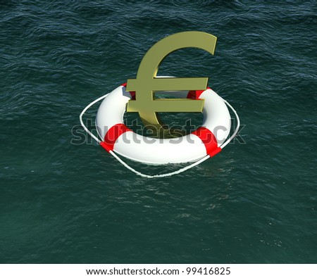 Sign of European currency in rescue disk floats on water. 3d rendering - stock photo