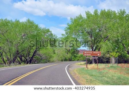 Sign of  Historic Fruita School, CAPITOL REEF NATIONAL PARK, UTAH. USA - stock photo