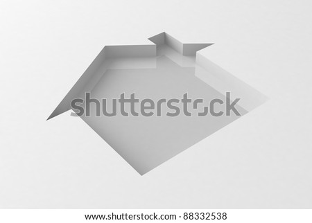 Sign of house on white background - stock photo
