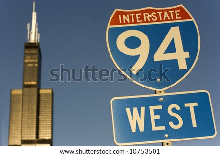 Sign of Interstate  94 in Chicago - stock photo