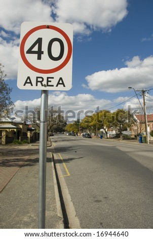 Sign of 40 KM/H Speed limit - stock photo
