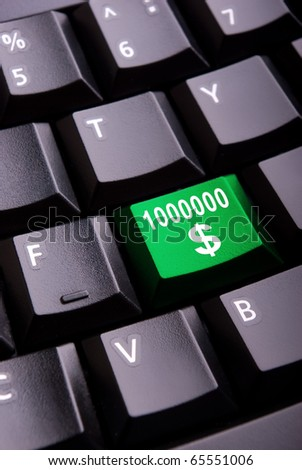Sign of million dollars on a close-up computer button
