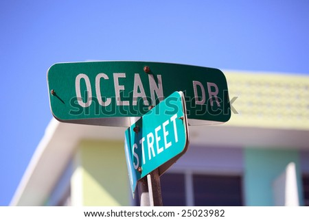 sign of ocean drive in south beach florida - stock photo