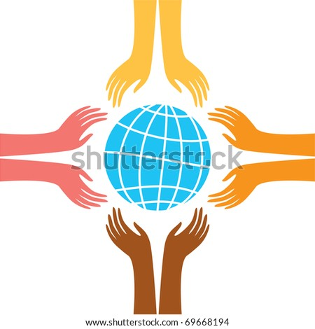 sign of peace - the hands of representatives of different peoples of the world reach for the image of the Earth - stock photo