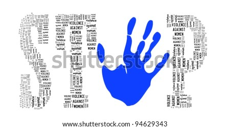 Sign of Stop Violence Against Women in Word Collage - stock photo