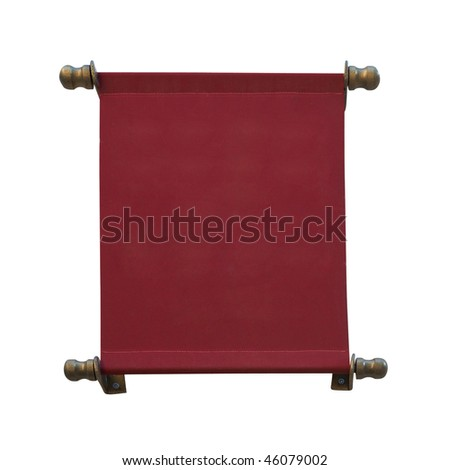 Sign of the red cloth. Isolated on white, with clipping path. - stock photo