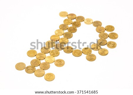 Sign of the ruble on a light background consisting of coins