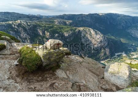 Sign of The trail to Kjeragbolten Kjerag mountain, Lysefjord. Norway - stock photo